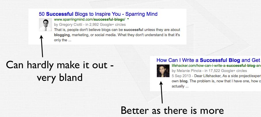 Good and bad examples of Google Authorship