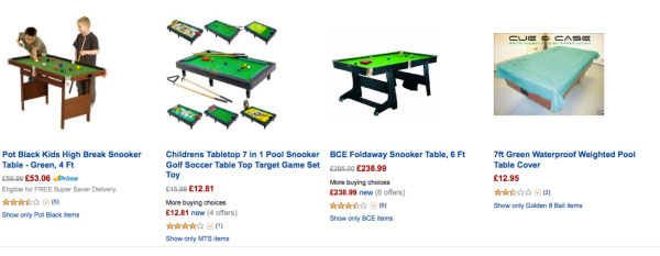 Snooker table listings
